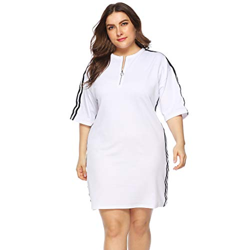 B2keevin Womens Plus Size Casual O Neck Short Sleeve Above Knee Dress Party Dress White
