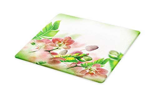 Orchid Tropical Print - Ambesonne Tropical Cutting Board, Tropical Orchids Branch Stem Petal Leaf Bud Spring Blooming Flowers Print, Decorative Tempered Glass Cutting and Serving Board, Large Size, Peach and Green