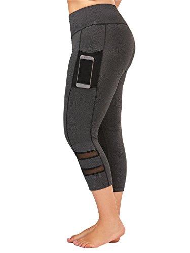 Fenxxxl Power Flex Yoga Capris Pants Tummy Control Workout Running 4 Way Stretch Crop Leggings F67 Grey 2XL by Fendxxxl (Image #1)