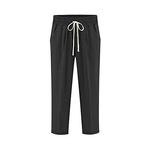 (Women's Cotton Casual Drawstring Elastic Waist Curling Cropped Beach Capris Pants Black Tag 5XL-US 16)