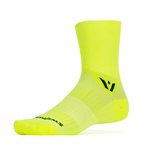 Signature Edition Footbed - Swiftwick- ASPIRE FOUR | Socks Built for Trail Running and Cycling | Fast Drying, Firm Compression Crew Socks | Yellow, Large
