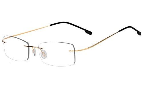 Agstum Mens Womens Titanium Alloy Flexible Rimless Frame Prescription Eyeglasses 51mm (Gold, - Frames Rimless For Women