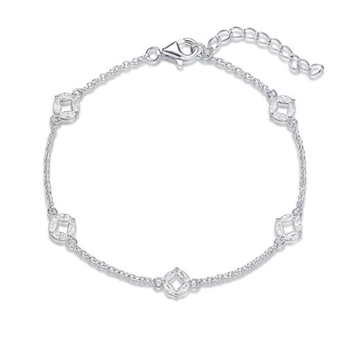 FANCIME White Gold Plated 925 Sterling Silver Round Cubic Zirconia CZ Petite Circle Station Dainty Chain Bracelet For Women Girls, 17+3cm ()