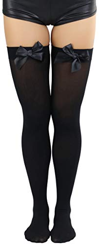 ToBeInStyle Women's Opaque Satin Bow Accent Thigh Highs - Black - One Size
