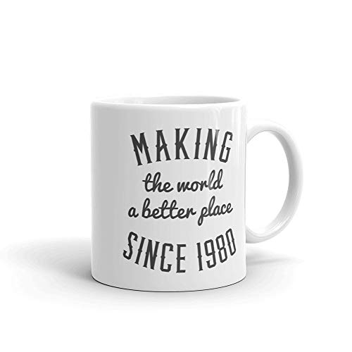 Making the world a better place since 1980, Birthday mug, 1980 mug, 38th birthday, 1980, motivational, gift idea, for men, for women, 38 -