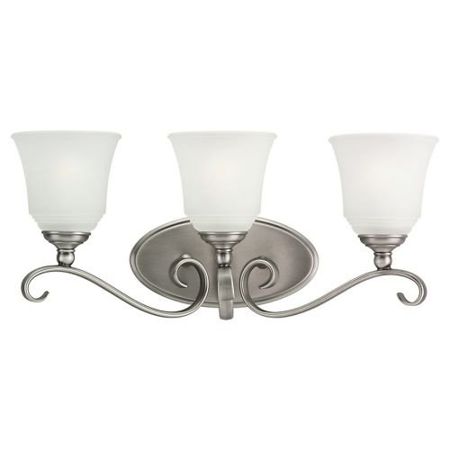 Sea Gull Lighting 44381-965 Bath Bar, Satin Etched Glass Shades and Antique Brushed Nickel, 3-Light by Sea Gull Lighting