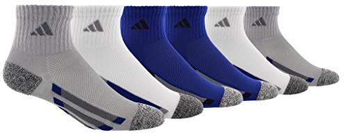 adidas Kids' - Boys/Girls Cushioned Quarter Socks (6-Pair), light Onix/black/white marl/Onix/mystery ink blue, 3Y-9