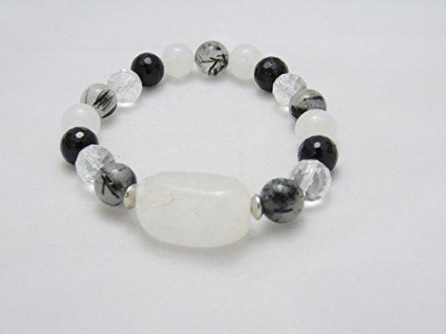 Bracelet Snow & Tourmalinated Quartz Black Tourmaline Crystal Healing Gemstones ()