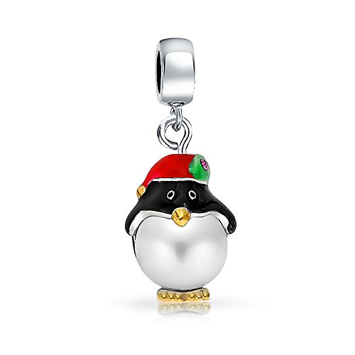 Christmas Simulated White Pearl Santa Hat Penguin Charm Bead For Women For Teen Sterling Silver Fits European Bracelet