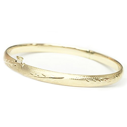 14k Real Yellow Gold Engraved Bangle Bracelet 8 Inches by Ritastephens