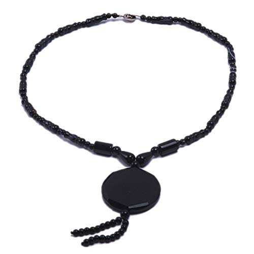 JYX Handmade 4-40mm Multi Size Black Faceted Agate Necklace Pendant Onyx Genmstone Beads Necklace for Men Women 18