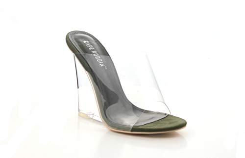 CAPE ROBBIN Women's Transparent Lucite Clear Wedge Heel PVC Open Toe Slip On Mules Lemonade (8.5, Olive)