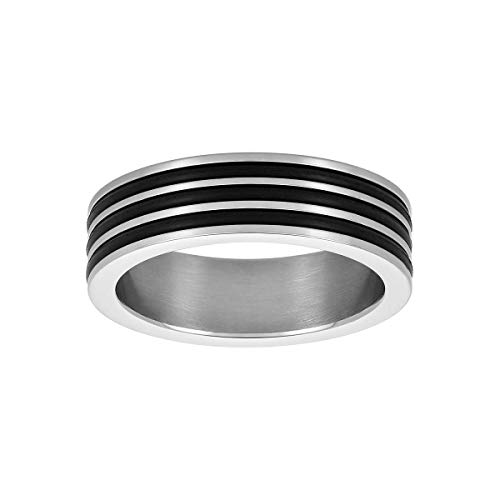 Caterina Jewelry Men's Stainless Steel Ring with Triple Rubber Banding, Various Sizes (Marines Primal Wear)