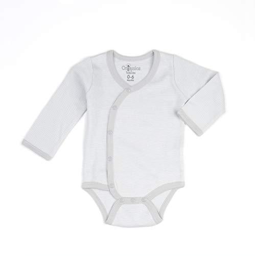 Tadpoles Organic Cotton Pin-Stripe Kimono-Style Bodysuit, 0-6 Months, Grey
