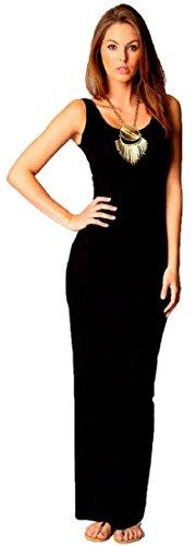 Crazy Girls Womens Plain Muscle Racer Back Sleeveless Bodycon Long Maxi Dress (UK16/18, Black)