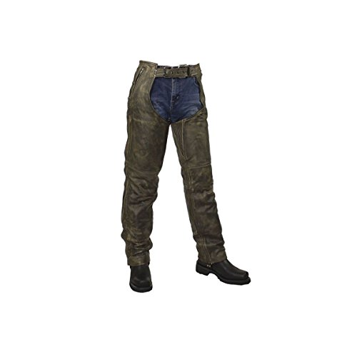 (Mens Distressed Brown Leather Motorcycle Chaps (XL Regular))
