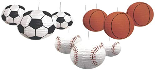 (Sports Balls Paper Lanterns Variety Bundle of Nine for Party Decorations, Team Events, Sports Themed Parties, Home and Office Decor: Three Each Soccer Ball, Basketball and Baseball)