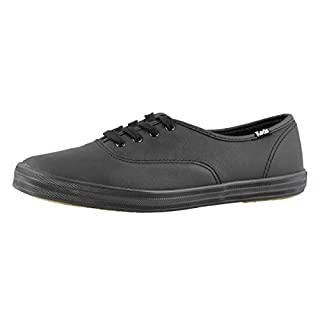 Keds Women's Champion Original Leather Lace-Up Sneaker, Black/Black, 6 Extra Wide US