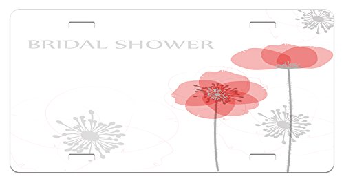 Bridal Shower License Plate by Ambesonne, Modern Poppy Flower Buds Abstract Shadow Design Floral Arrangement, High Gloss Aluminum Novelty Plate, 5.88 L X 11.88 W Inches, Pale Grey and Salmon
