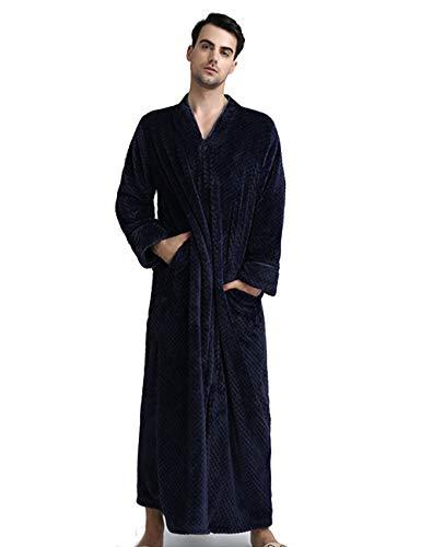 Men's Zip Front Bathrobe Premium Flannel Fleece Plush Caftan Soft Long Robe Warm Housecoat, Navy-L