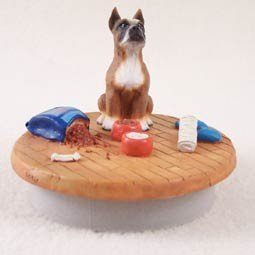 Conversation Concepts Miniature Boxer Candle Topper Tiny One ''A Day at Home'' by Conversation Concepts