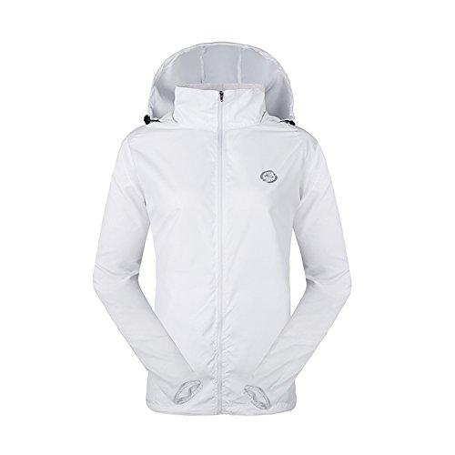 LeoVera Unisex UV Protect Quick-Dry Lightweight Windbreaker Outdoor Hoodie Skin Coat Skin Jackets LVPFY118-White-M - Hooded Nylon Windbreaker