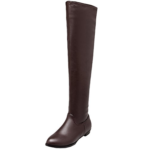 Women's Boots Thigh Zipper Boots Knee Brown Matte High HooH the Over Riding Udwava