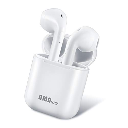 Wireless Headphones, AMASKY Bluetooth Earbuds True Wireless Earphones Stereo Sports Headsets with Charging Case Noise Cancelling Sweatproof Earpiece for iPhone Samsung Smartphone (White)