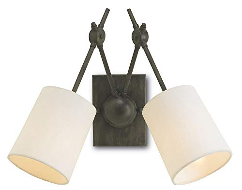 Currey and Company 5150 Compass - Two Light Wall Sconce, Cupertino Finish with White Linen ()