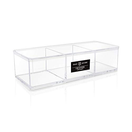 - Isaac Jacobs Clear Acrylic 3 Section Organizer- Three Compartment Drawer Tray and Storage Solution for Office, Bathroom, Kitchen, Supplies, and More (Clear)