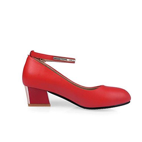 boucle kitten caoutchouc diamant heels en en red femme Toe verre shoes pour balamasa pumps Round qgwnUXaSg