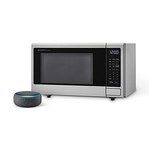 Sharp ZSMC1139FS Microwave Oven, 1.1cu ft. Stainless Steel, with Echo Dot (Charcoal)