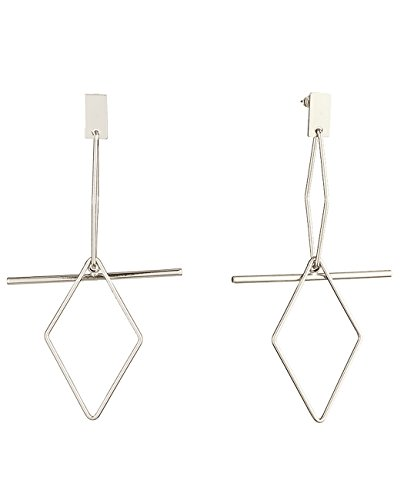 Women's Brass Metal Geometric Diamond Shape Dangle Pierced Earrings, Silver-Tone