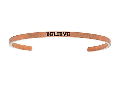 """Intuition en acier inoxydable Finition Rose """"Believe"""" Bracelet"""