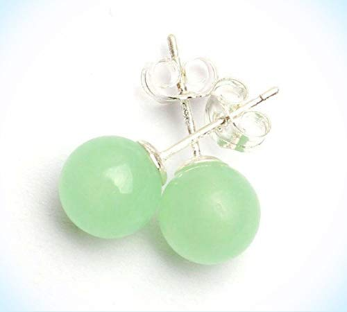 - Pretty New Silver Light Green Natural Jade 10mm Round Ball Bead Stud Earrings For Women Lady