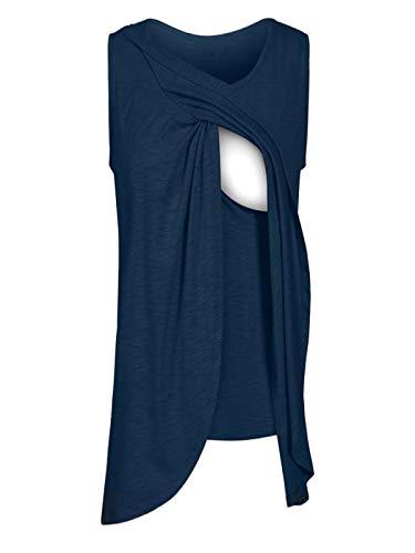 Maternity Tops,Women's Maternity Nursing Wrap Top Cap Sleeveless Double Layer Blouse T Shirt,Women's Novelty Tops & Tees,Dark Blue,S