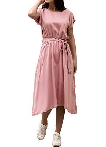 Halife Women's Chiffon o Neck Dolman Sleeve Casual Loose Party Midi Dresses Pink,L Dolman Sleeve Mini Dress