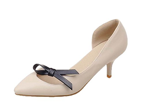 On Heels Women's WeenFashion Kitten Beige Pu Solid Closed Sandals Toe Pull qBW7TRw