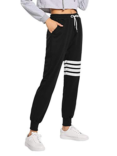 Women's Active Yoga Lounge Sweat Pants with Pockets(Black #16-X-Large)]()