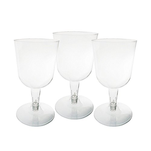 Party Essentials Hard Plastic Two Piece 5.5-Ounce Wine Glasses, Clear, Pack of 40 ()