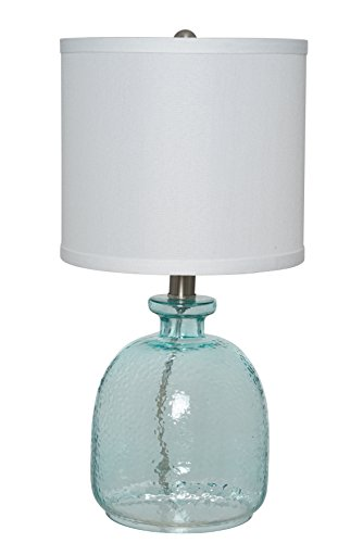 Catalina Lighting 20687-000 Textured Ocean Blue Glass Table Lamp, 18.25