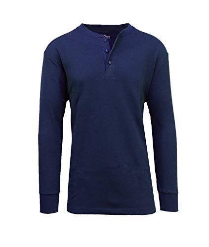 Galaxy by Harvic Mens Waffle-Knit Thermal Henley Tees ()