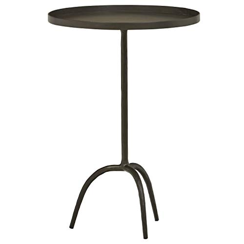 Stone & Beam Industrial Round End Pedestal Table, 16.14'W, Gunmetal