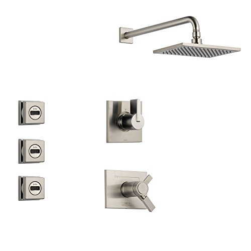 Delta Vero Stainless Steel Shower System with Thermostatic Shower Handle, 3-setting Diverter, Large Square Rain Showerhead, and 3 Modern Body Sprays SS17T5381SS Delta Faucets