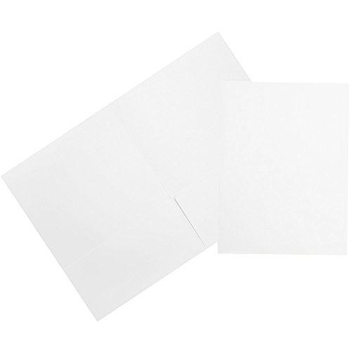 JAM PAPER Premium Matte Cardstock Twin Pocket Folders - White - 6/Pack