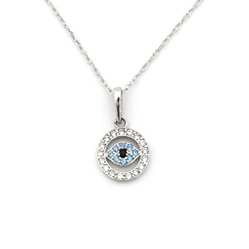 Beauniq 14k White Gold Cubic Zirconia and Simulated Blue Topaz Tiny Evil Eye Pendant Necklace - Pendant only ()