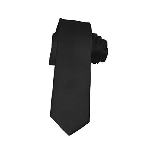 Satin Long Tie - Skinny Black Tie 2 Inch Solid Mens Tie Satin by K. Alexander