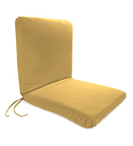 Classic Polyester Outdoor Chair Cushion With Ties, Seat 19'' x 17'' x 2.5''; Back 19'' x 19'' x 2.5'' - Khaki