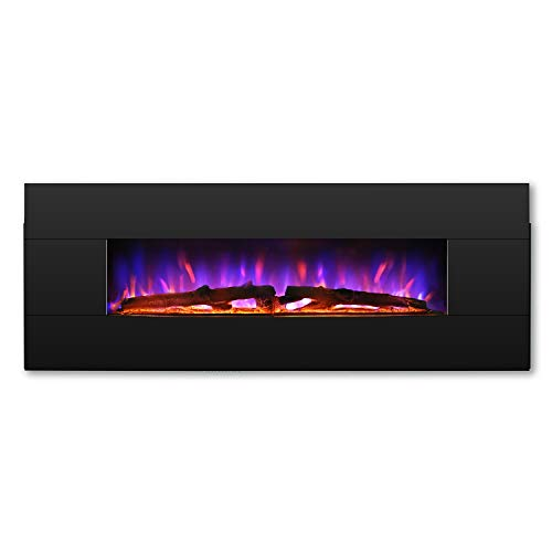 TURBRO Reflektor 48 Electric Wall Mounted Fireplace, Double-Faced Solid Wood Panel, Realistic 7-Color Lighting Flame, Remote Control, 1400W, Black White