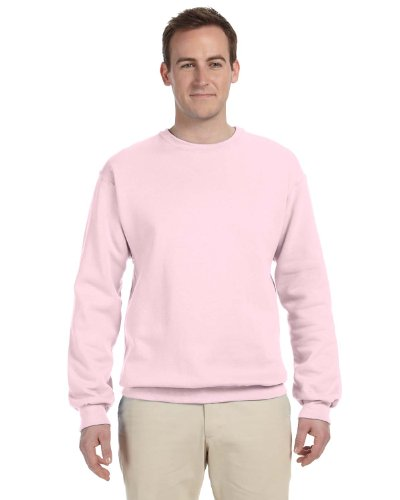 (Jerzees mens 8 oz. 50/50 NuBlend Fleece Crew(562)-CLASSIC PINK-2XL)